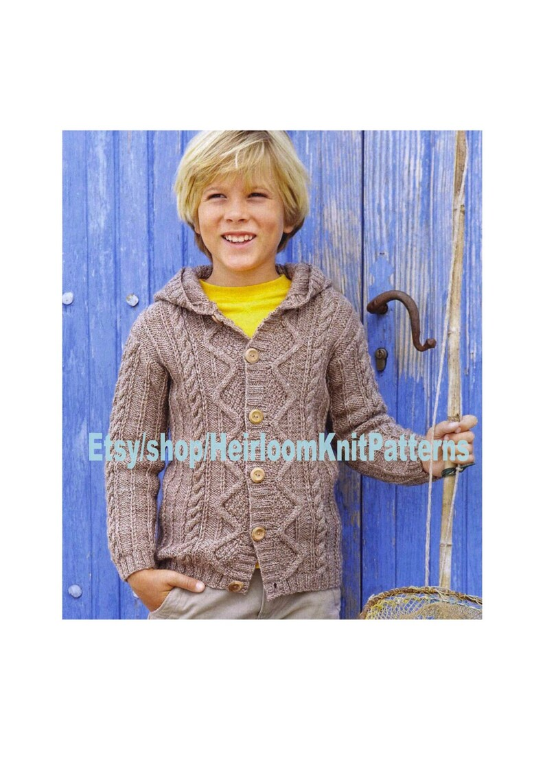 0c75666fd5f7 Child s Textured Hooded Cardigan Knitting Pattern PDF