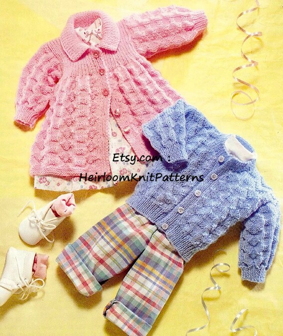 Baby Boy Girl Cardigan And Matinee Jacket Baby Knitting Etsy