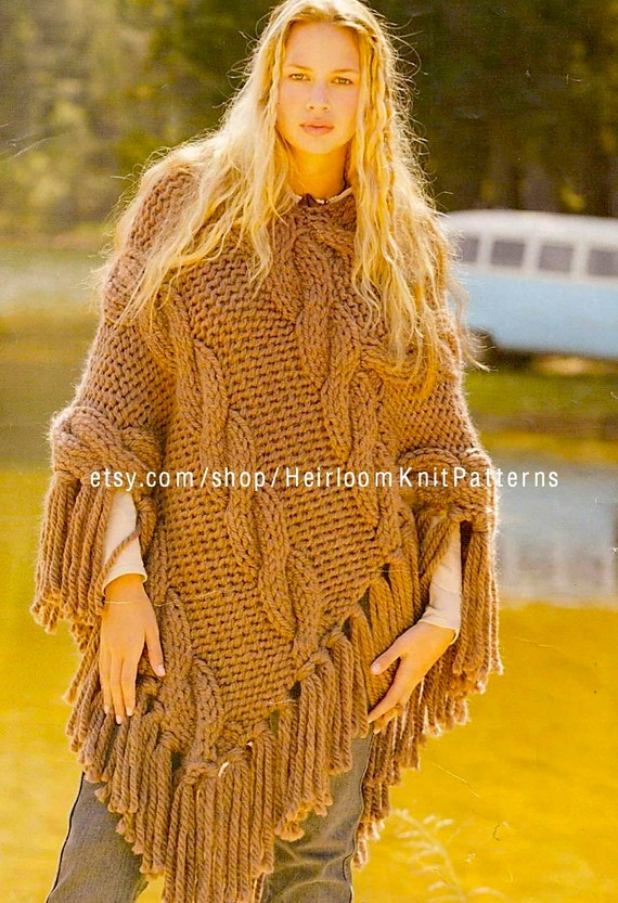 Womens Chunky Poncho Knitting Pattern Pdf Chunky Cable Etsy