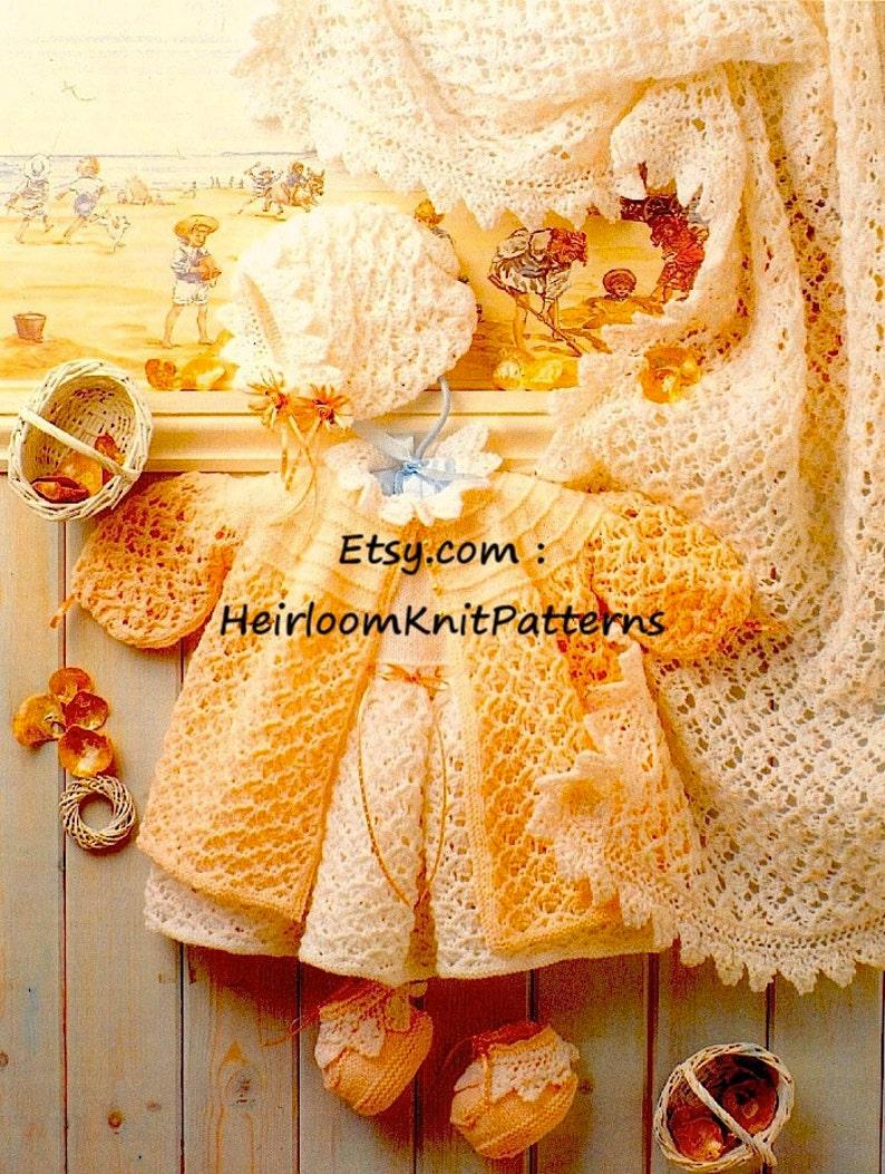 950ce71ce Baby 5-Piece Layette Knitting Pattern Dress Matinee Coat