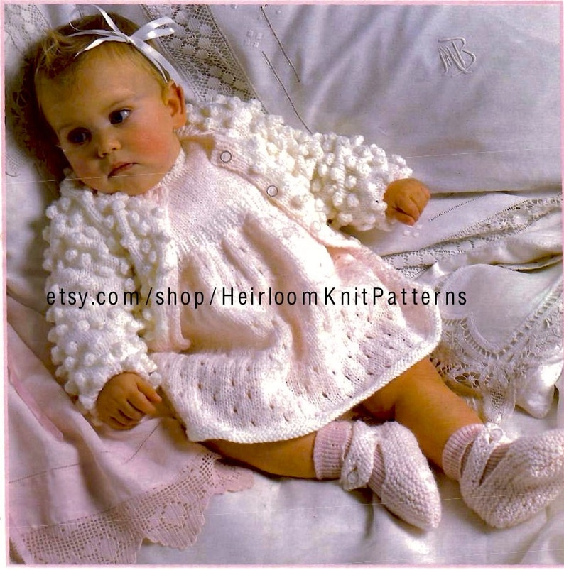 5ea1b75b3 Baby Girl Bobble Cardigan Lacy Dress   Shoes Vintage Knitting