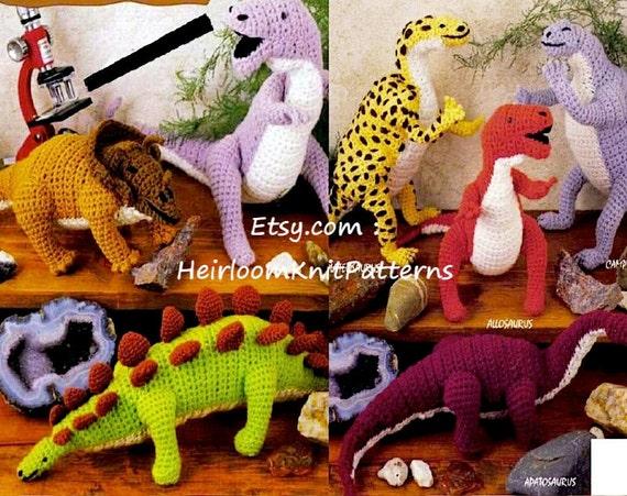 7 Dinosaurs Crochet Pattern PDF Dinosaur Toy Crochet Pattern