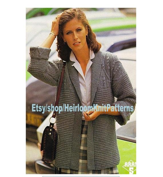 Ladies Jacket With Aran Patterned Yoke Knitting Pattern Aran Etsy