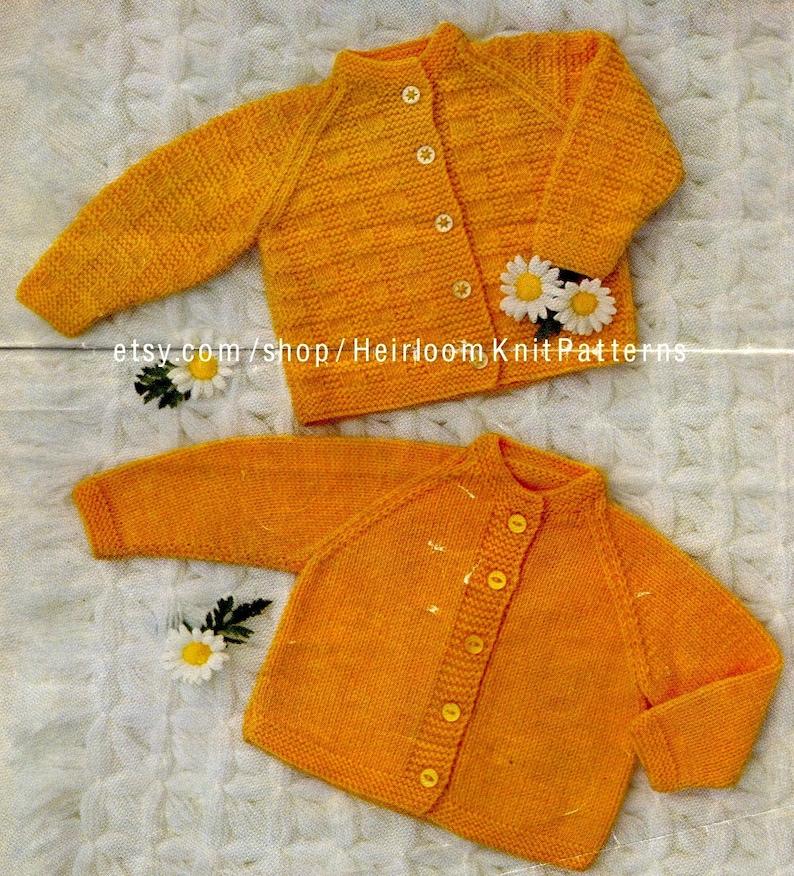 a81b703ee7f6 2 Baby Raglan Cardigans Vintage Knitting Pattern PDF Knitted