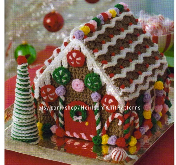 Christmas Gingerbread House.Gingerbread House And Tree Crochet Pattern Pdf Christmas Crochet Decor Ornaments Holiday Decoration Instant Digital Download Pdf 2180