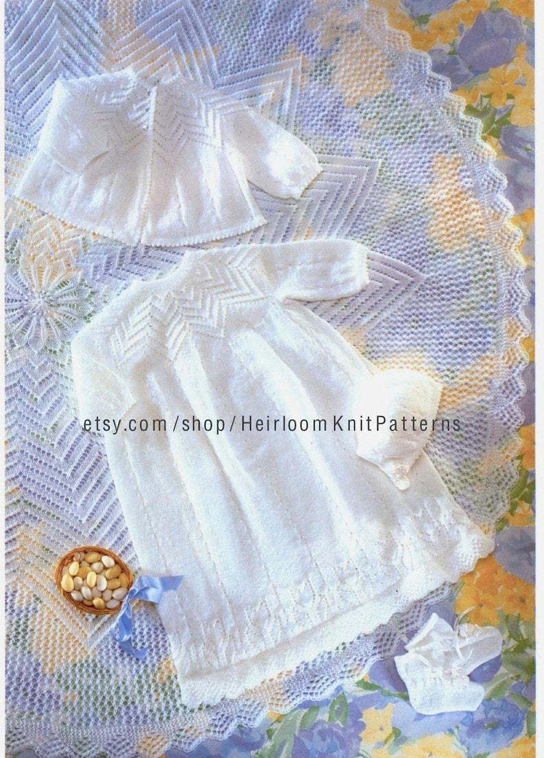 b186242e7 5-Piece Christening Layette Knitting Pattern Baby Boy Girl