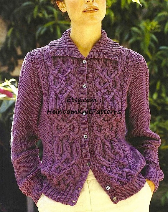 Womens Celtic Cable Cardigan And Sweater Knitting Pattern Etsy
