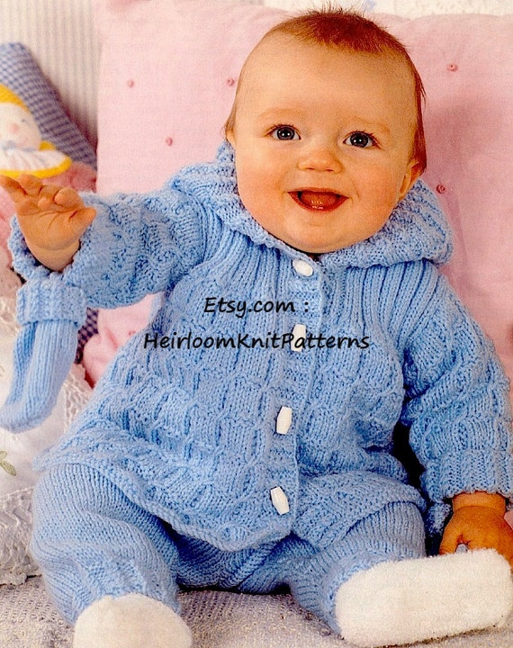 Baby Hooded Jacket Trousers Mitts Knitting Pattern Etsy