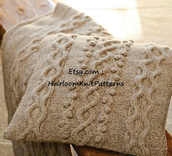 Aran Cushion Throw Knitting Pattern Pdf Aran 10ply Worsted Etsy