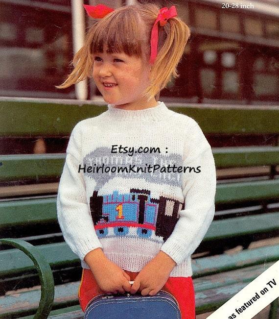 Knit Thomas The Tank Engine Sweater Pattern Boys Girls Jumper Etsy