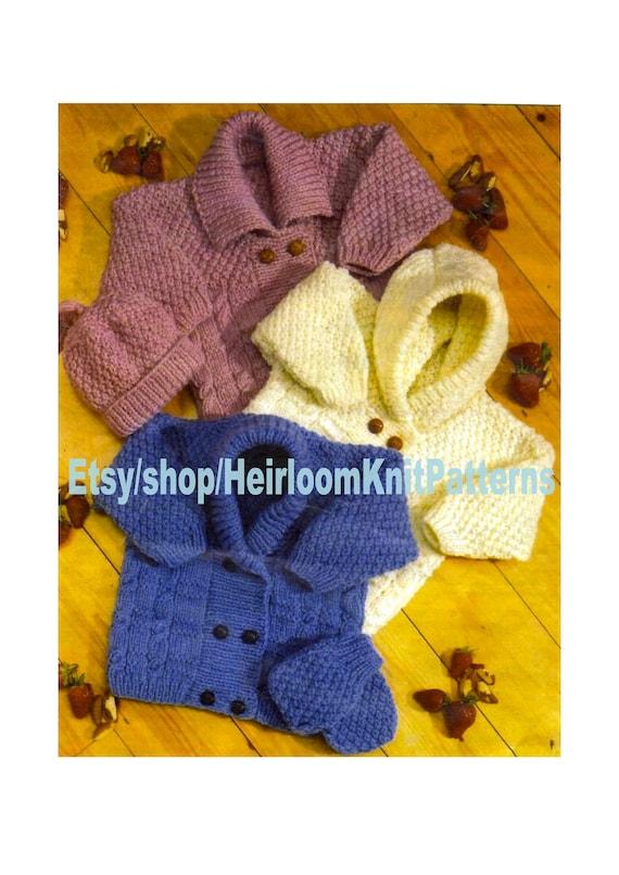 5b08e0a83648 Baby Cardigans Hat Mittens Aran Knitting Pattern PDF Boy Girl