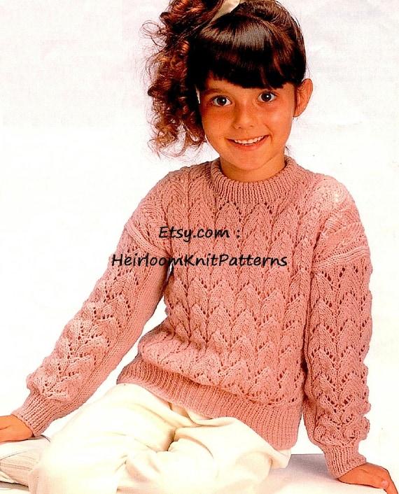 Girls Lacy Sweater Knitting Pattern Pdf Girls Sweater Etsy