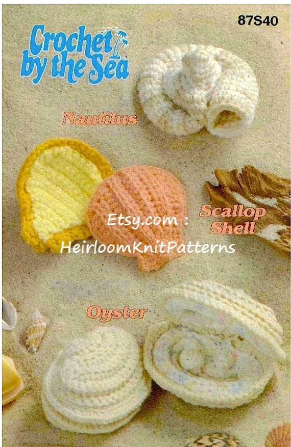 3 Designs Seashells Rare Vintage Crochet Pattern Crochet By Etsy