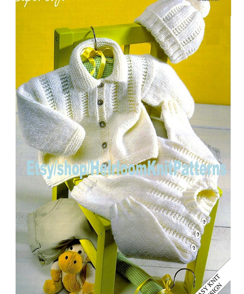 c6647dd85 Baby Child s Jacket Sweater and Hat Knitting Pattern Easy