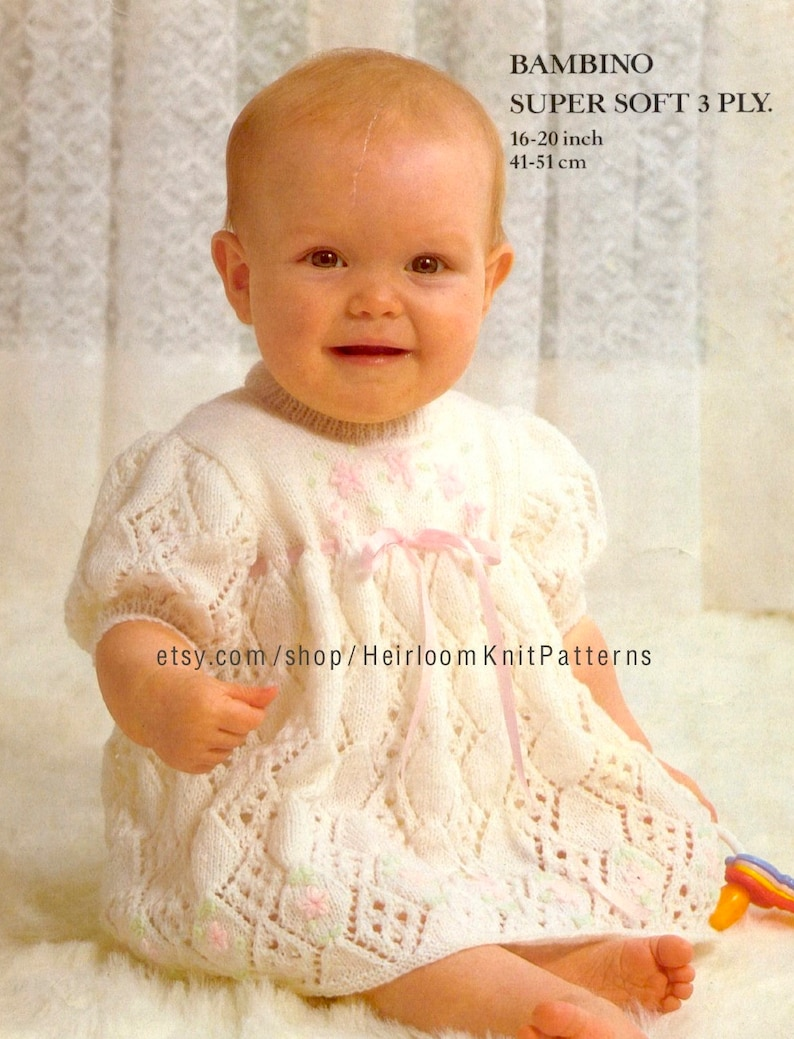 e5e7c6e87 Baby Girl Dress Vintage Knitting Pattern PDF 3Ply  Fingering