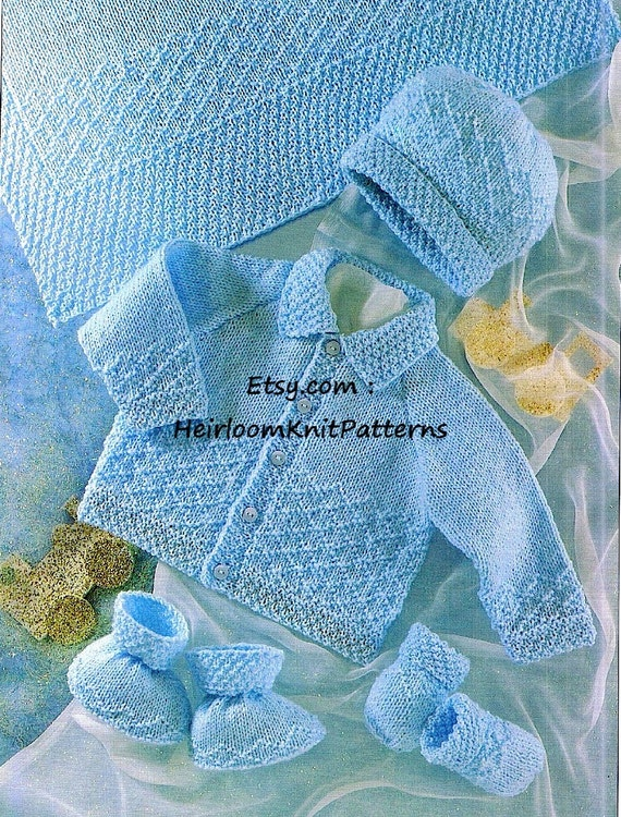 fb995775c Baby Knitting Pattern PDF Baby Jacket Hat Mittens Bootees