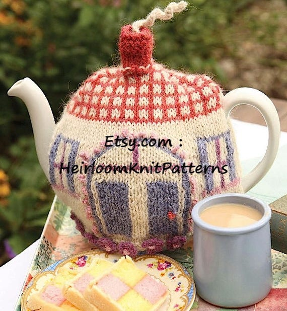 Knit Tea Cosy Pattern Country Cottage Tea Cozy Knitted Tea Etsy