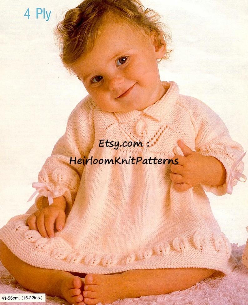 c2cf09476 Baby Girls Dress Vintage Knitting Pattern Flower and Leaf