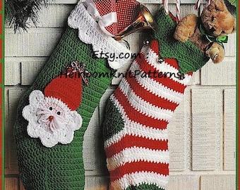 4 Designs Christmas Stockings Crochet Pattern PDF Striped Checked Snowman Santa Stockings Instant download PDF Christmas Pattern - 1030