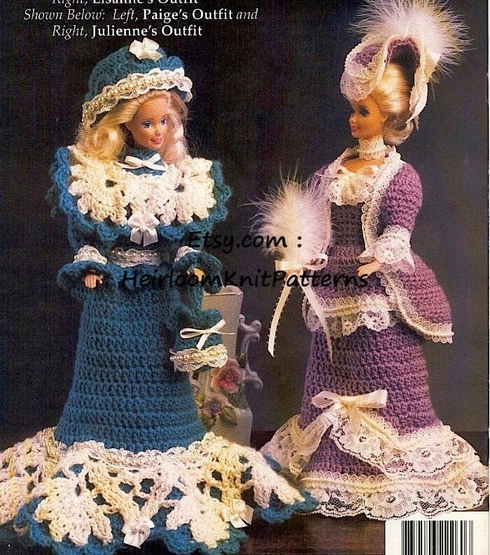 4 Designs Victorian Barbie Crochet Pattern Fashion Doll Barbie Etsy