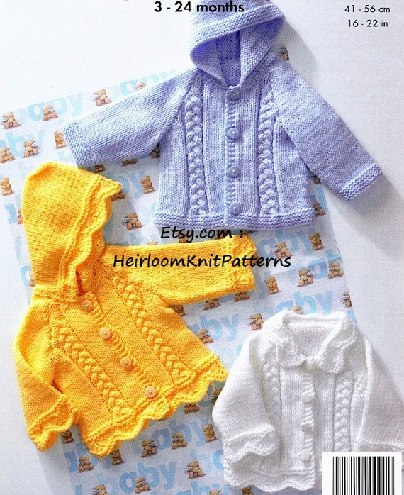 559815f62864 Knit Baby Toddler Boy Girl Cable Jackets Pattern PDF Baby