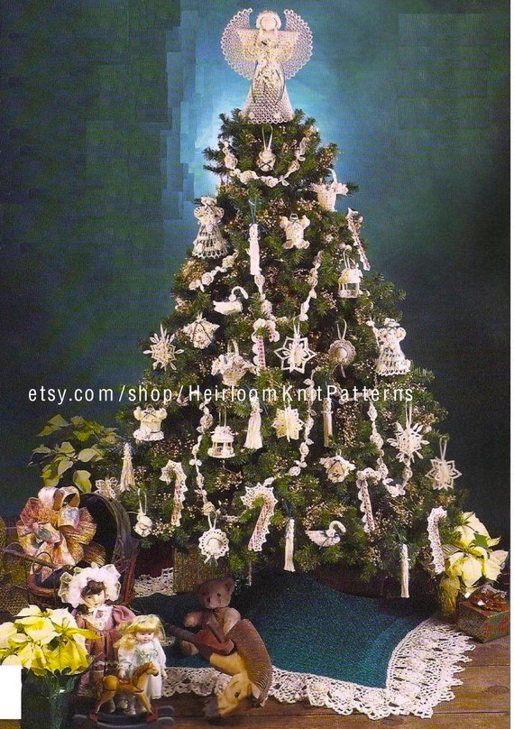 image 0 - 12 Crochet Victorian Christmas Tree Ornaments Tree Skirt And Etsy