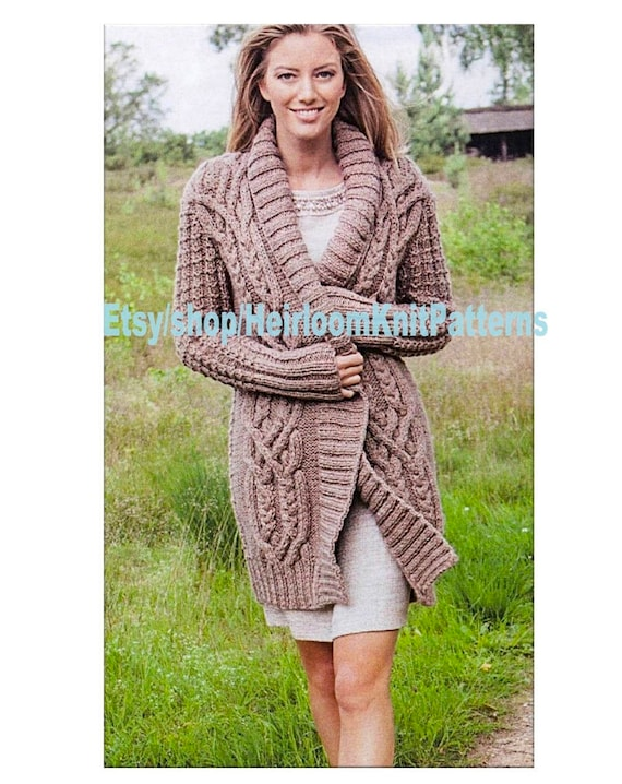 Ladies Stunning All Round Cable Jacket Knitting Pattern Etsy