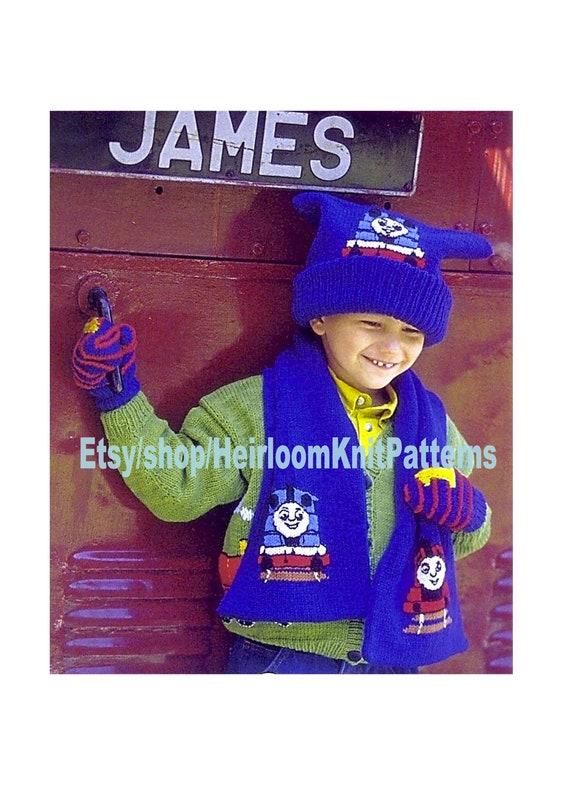 Thomas The Tank Engine Hat Scarf Mitts Knitting Pattern Boy Etsy