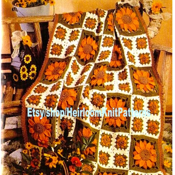 AUTUMN Girl/'s Sunflower Sweaters//Crochet Pattern INSTRUCTIONS ONLY