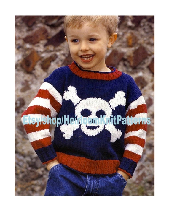 Boys Pirate Sweater Knitting Pattern 6m 5yrs Kids Child Boy Girl