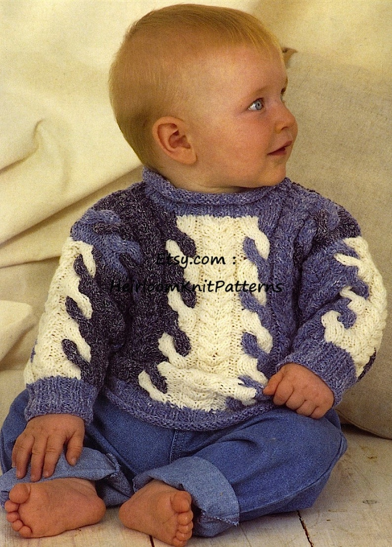 608ec7e25 Baby Child s Cable Sweaters Knitting Pattern PDF Baby