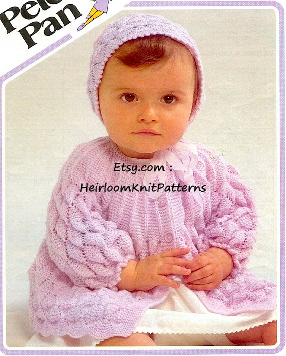 a338f6f7f799 Baby Matinee Jacket and Bonnet Vintage Knitting Pattern