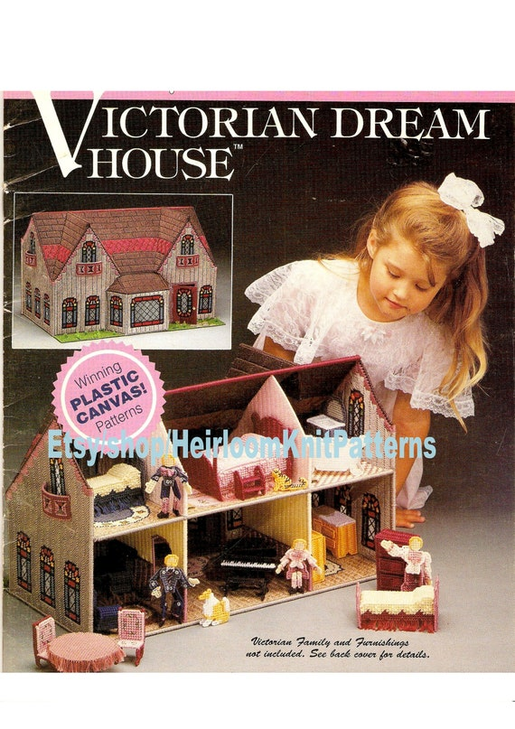 Doll House Vintage Plastic Canvas Pattern PDF Victorian Dream