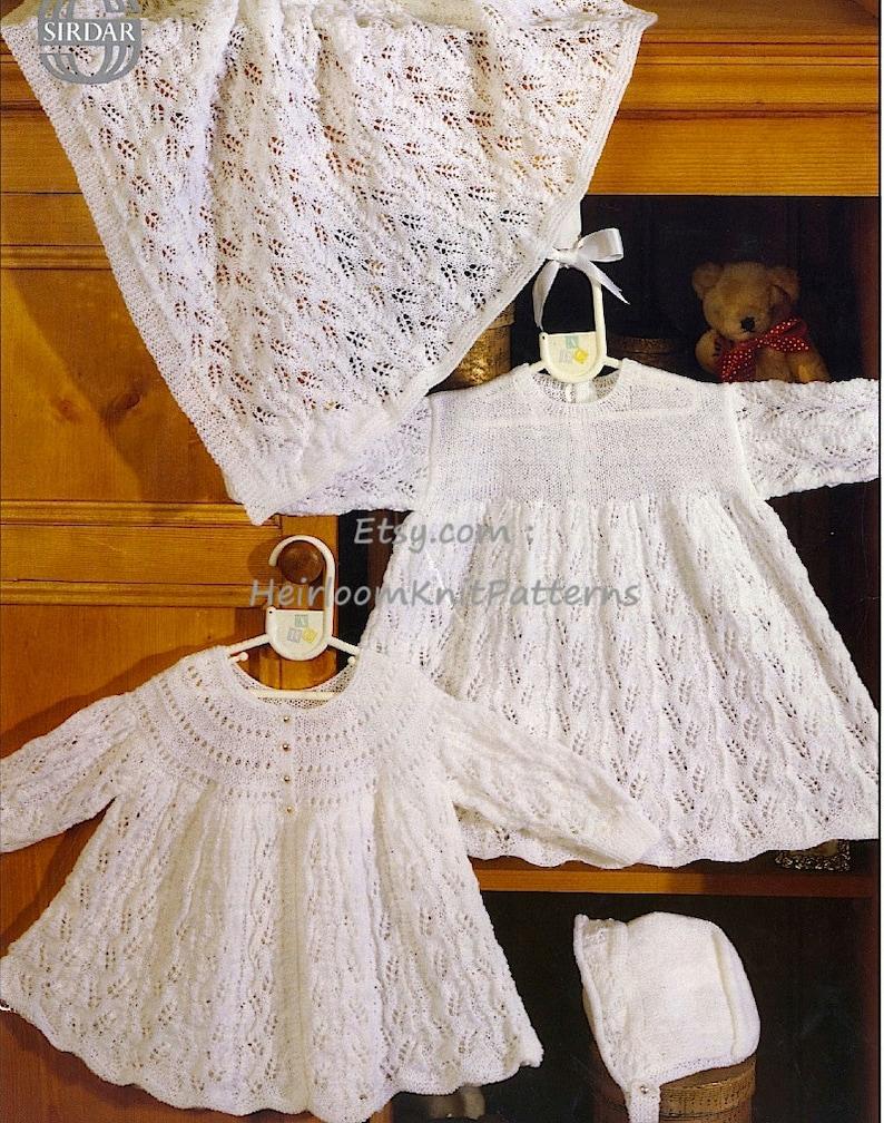 e6b6ee654 Baby Matinee Coat Dress Bonnet   Cot Cover Knitting Pattern