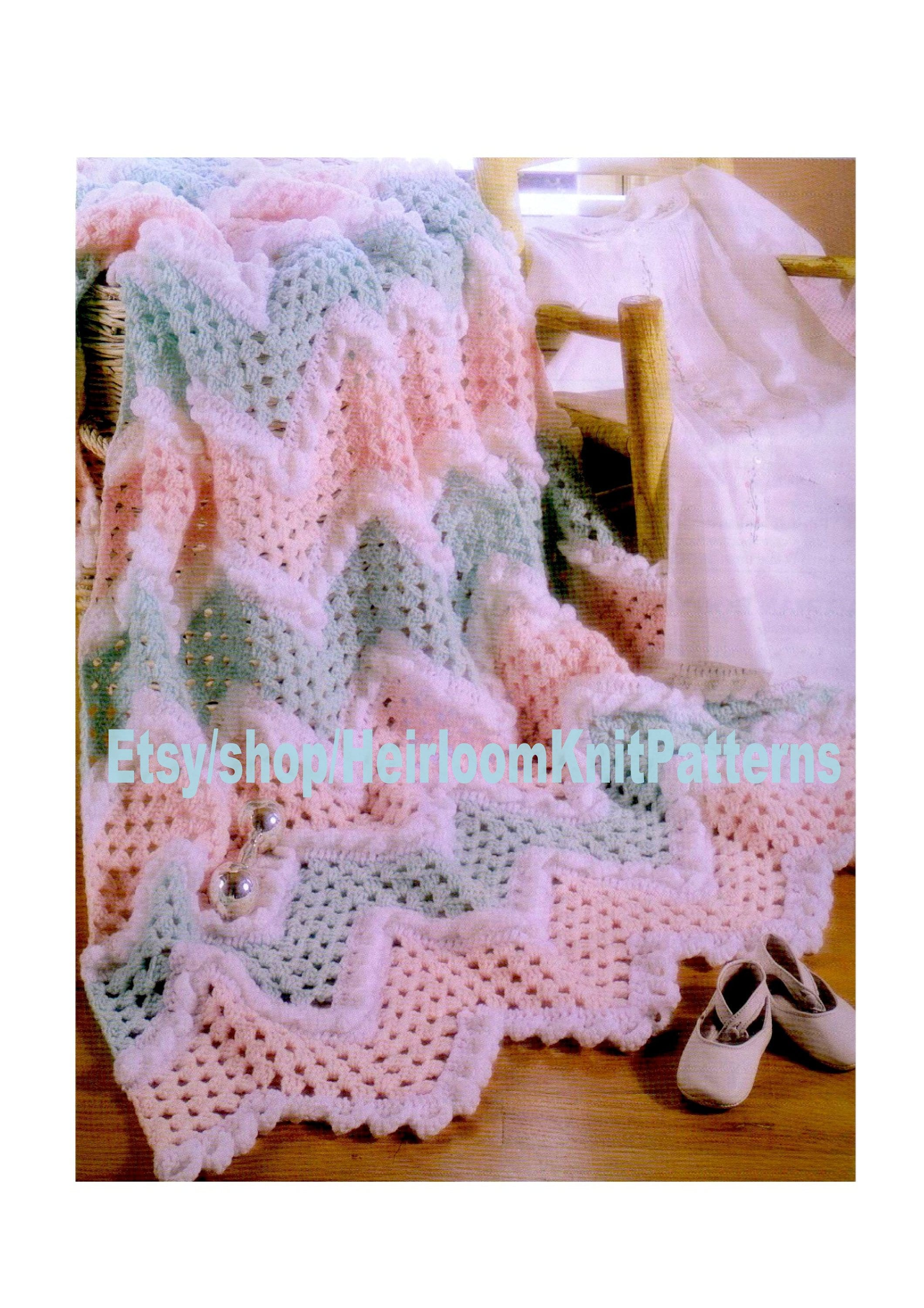 Baby Ripple And Ruffle Afghan Blanket Crochet Pattern Pdf Baby Etsy