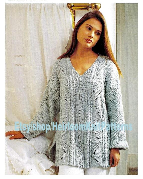 fc31e0a05821b5 Women s Girls Aran Tunic Knitting Pattern Aran Long