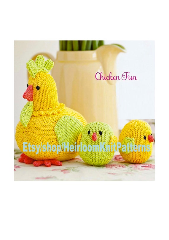 Mother Hen And Chicks Knitting Pattern Pdf Easter Decor Farm Etsy