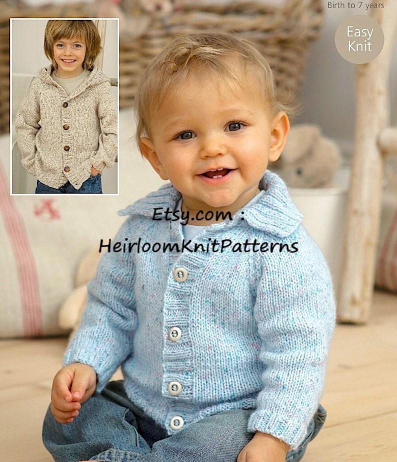 c30f15829 Easy Knit Baby Child Boy Girl Jackets Knitting Pattern PDF