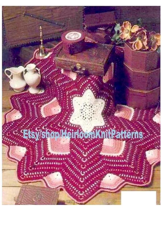 LOVELY WINTER STAR MOTIF ARAN BLANKET THROW /& CUSHION CHRISTMAS CROCHET PATTERN