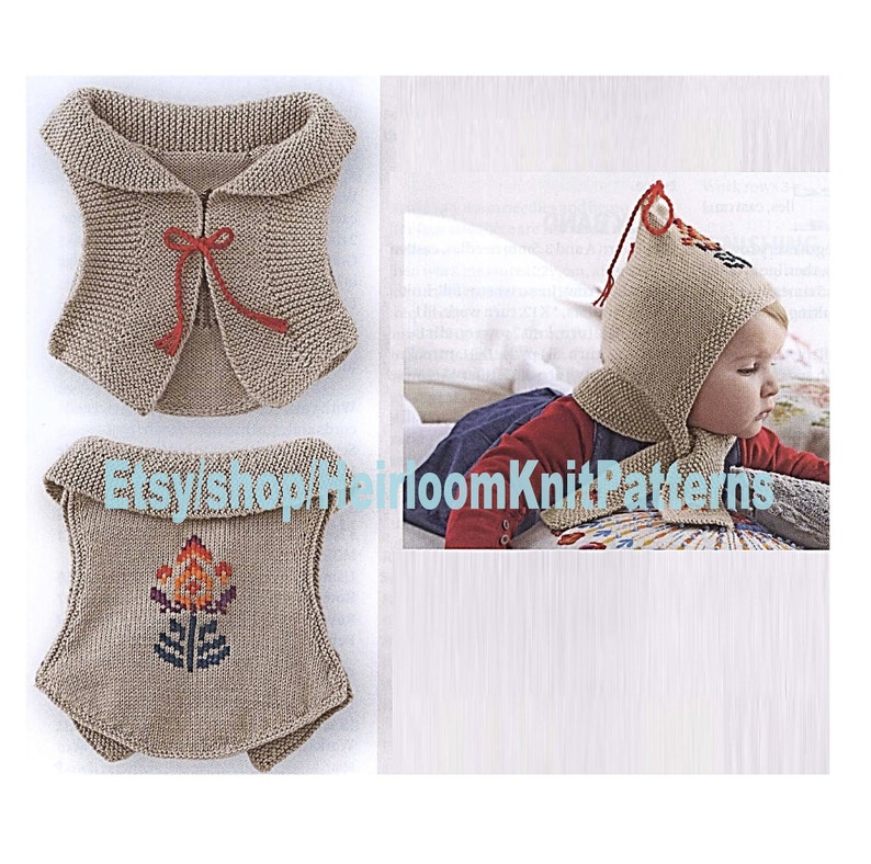Knit Baby Sleeveless Cardigan and Hat-Scarf Pattern 6-12mths  924849850ec