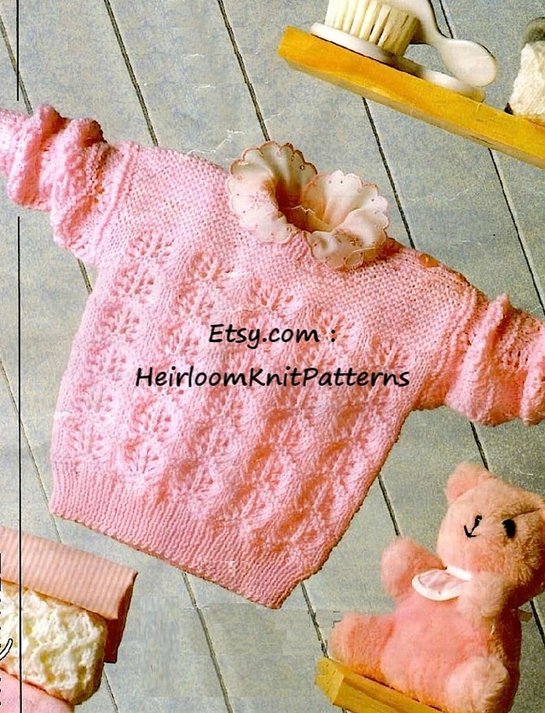 bd5a4290c Knitting Pattern Girl s Lacy Sweater Jumper