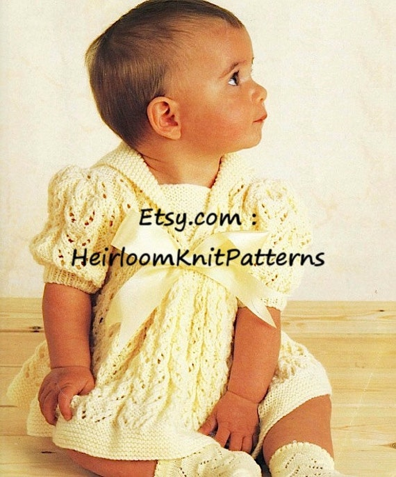 Vintage Baby Knitting Pattern Baby Girls Dress 16 22 Etsy