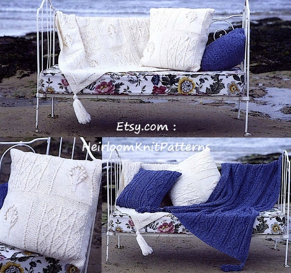 Aran Cushion And Throw Knitting Pattern 2 Designs Cable Etsy
