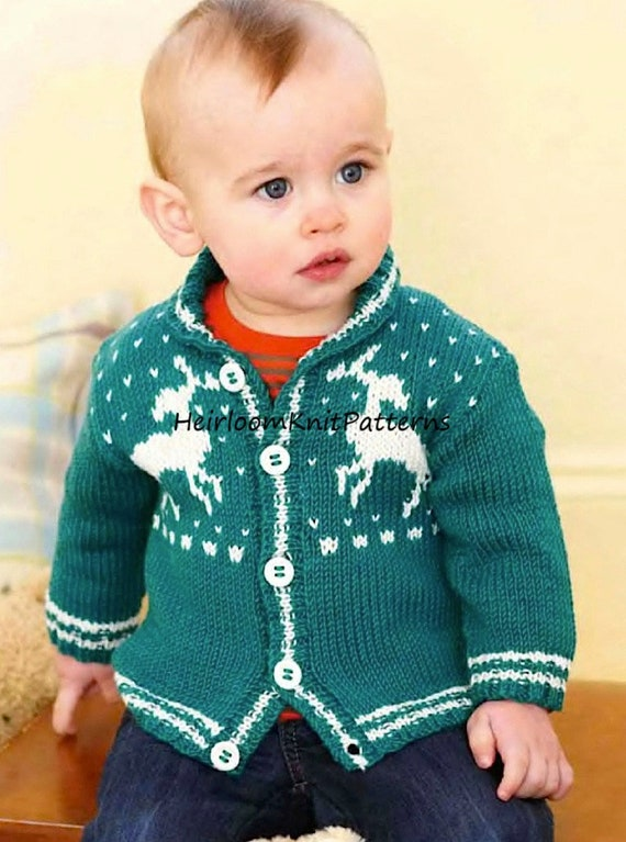 Baby Toddler Child Reindeer Cardigan Knitting Pattern Pdf Etsy