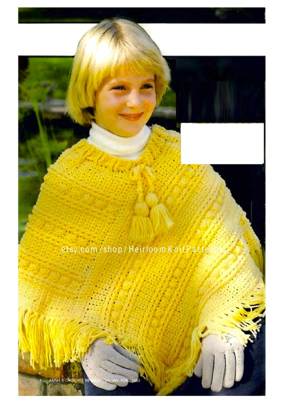 Childs Poncho Crochet Pattern Pdf Girls Kids Crochet Etsy