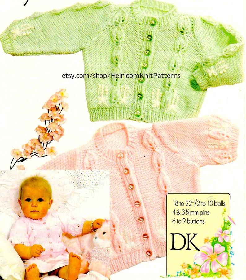 f7537eb95554 Baby Cardigans Vintage Knitting Pattern PDF Baby Boy Girl