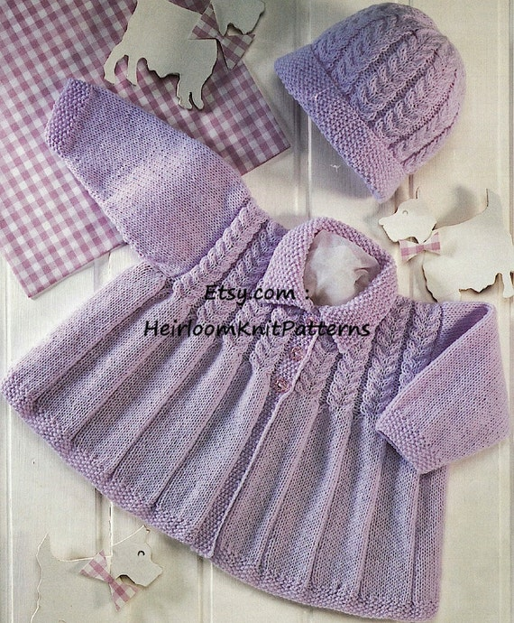 72d691626 Baby Boy Girl Cable Matinee Coat and Hat Knitting Pattern