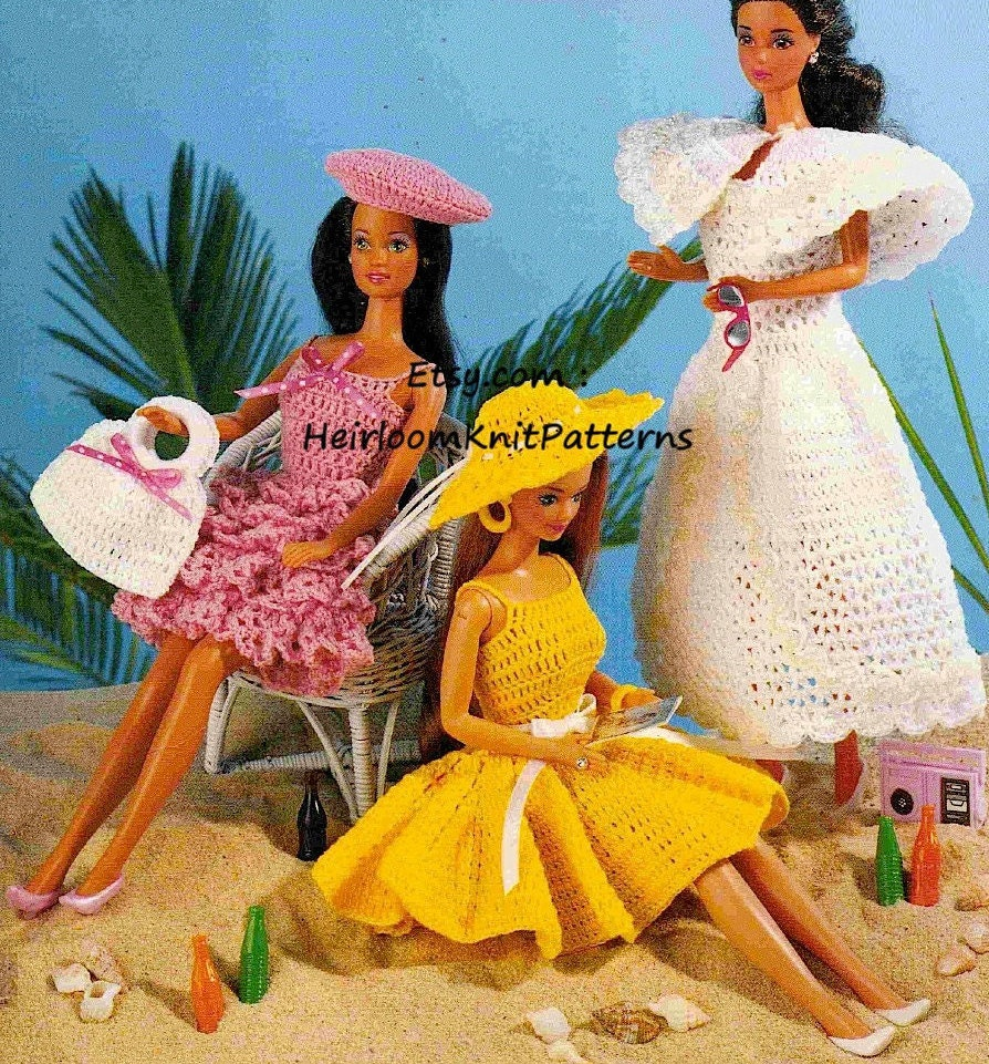7 Barbie Outfits Crochet Pattern Pdf Dollhouse Crochet Pdf Etsy