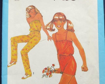 1980 Jumpsuit Uncut Girl's Vintage Pattern, Jiffy Simplicity 9435, Size 10, Breast 28