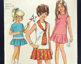1970 Drop Waist Dress with Scarf Vintage Pattern, Simplicity 8864, Girls Size 6, Breast 25